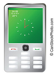 Vector illustration of mobile phone with clock on green screen