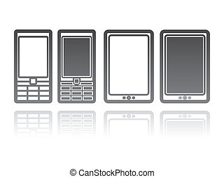 vector illustration of mobile phones and tablet computers. communication concept