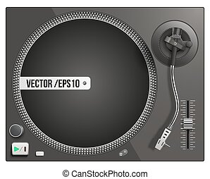 Vector illustration of modern black turntable. Vector...