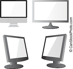 Vector illustration of modern flat screen computer monitor, isol