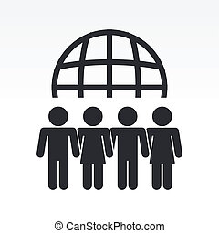 Vector illustration of modern icon depicting a global people meeting