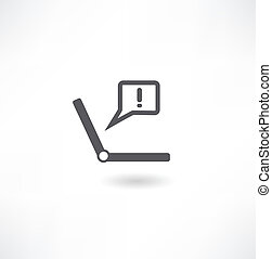 Vector illustration of modern laptop with exclamation mark on the display