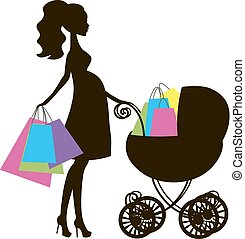 vector illustration of modern pregnant mommy with pink vintage baby carriage, the woman does the shopping online store, logo, silhouette, stylized symbol of mother's, sale icon on white background