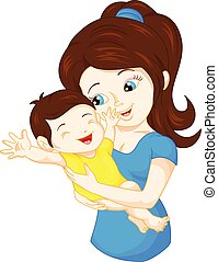 vector illustration of mom and baby