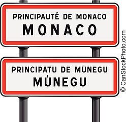 Monaco road signs entrance