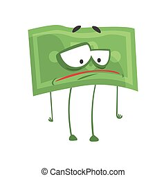 Vector illustration of money with sad face expression. Cartoon banknote character with arms and legs. Green dollar in flat style