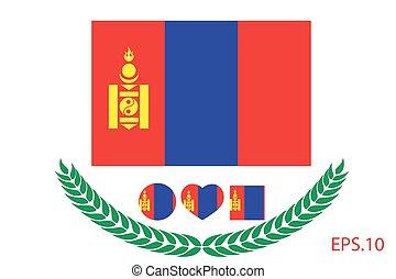 Vector illustration of Mongolia flag. Eps 10