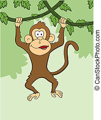 Monkey cartoon hanging - Vector Illustration Of Monkey...
