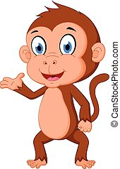 Monkey cartoon presenting