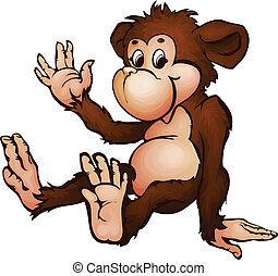 Vector illustration of monkey in cartoon style