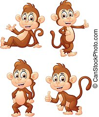 illustration of monkey many express - vector illustration of...