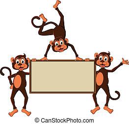 monkey's cartoon with blank board