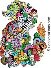 Monster and music cartoon