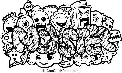Monster cartoon hand-drawn doodle
