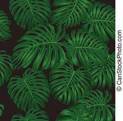 Monstera leaves seamless pattern