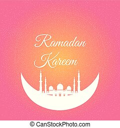 Vector illustration of moon with mosque. Ramadan Kareem vector