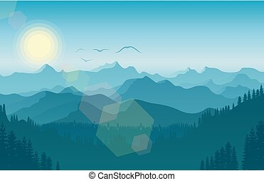 Morning in mountain landscape with forest and bird flying