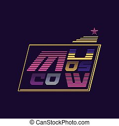 Vector illustration of Moscow emblem, capital city of Russia. Original logo template. Modern graphic design with colorful lines and star