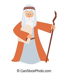 Vector illustration of Moses standing for Passover.