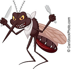 Mosquito cartoon ready for eat - Vector illustration of ...