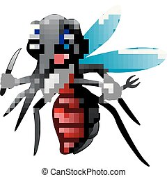 Mosquito cartoon ready to eat - Vector illustration of...