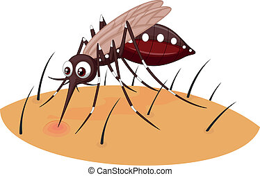 Mosquito cartoon sucking blood from - Vector illustration of...