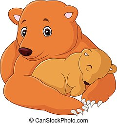 Mother and baby bear cartoon