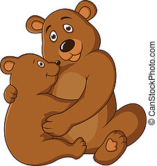 Mother and baby bear - Vector Illustration Of Mother and...
