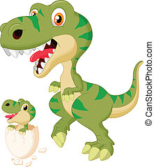 Mother and baby dinosaur hatching - vector illustration of...