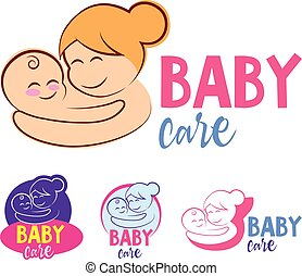 Vector illustration of mother and baby.