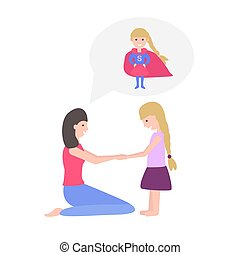 Vector Illustration of Mother and Daughter - Vector...