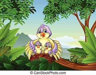 Mother bird with her two babies in the nest