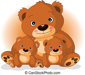 vector illustration of mother brown bear with her sons in love