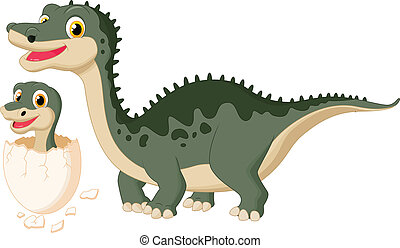 Mother dinosaur with baby hatching - vector illustration of ...