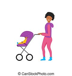 Vector illustration of mother with baby carriage