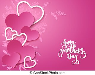 vector illustration of mothers day card with lettering, doodle branches and a lot of hearts
