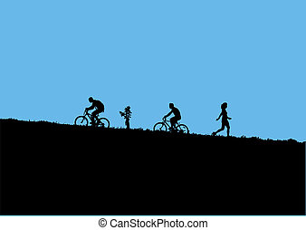 mountain bikers - Vector illustration of mountain bikers