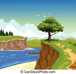 mountain cliff with lake background