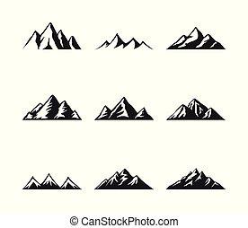 Mountain icons set on a white background