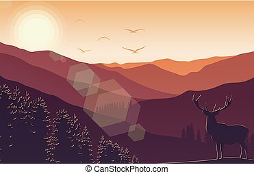 Mountain landscape with deer and forest at sunset