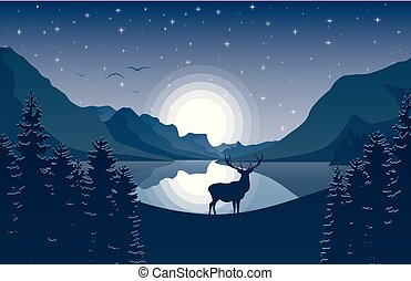 Mountain landscape with deer in a forest and lake at night