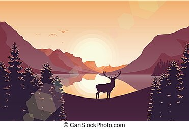 Mountain landscape with deer in a forest and lake at sunset