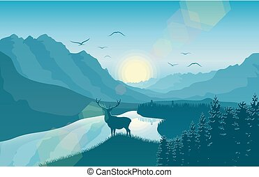 Mountain landscape with deer in a forest near a lake
