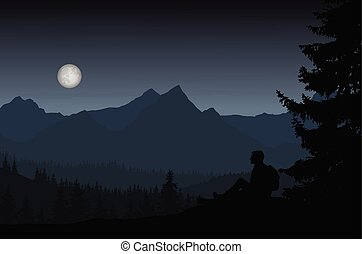 Vector illustration of mountain landscape with forest and man sitting under night blue-gray sky with moon in full moon
