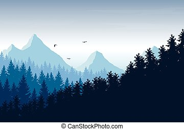 Vector illustration of mountain landscape with forest under blue sky with clouds and flying birds