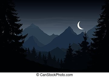Vector illustration of mountain landscape with forest under cloudy night sky with moon
