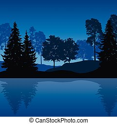 Vector illustration of mountain landscape with trees and water with reflection under night blue sky