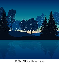 Vector illustration of mountain landscape with trees and water with reflection under night blue sky with sunrise