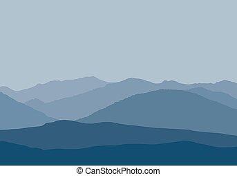 Vector illustration of mountain peaks in misty haze under...