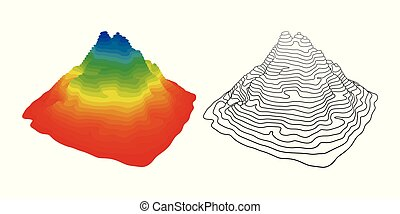 Vector illustration of mountain topography